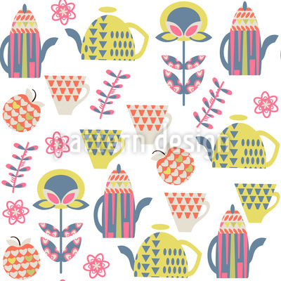 Tea In The Garden Repeating Pattern