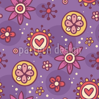 Sunset Flower Doodles Seamless Pattern