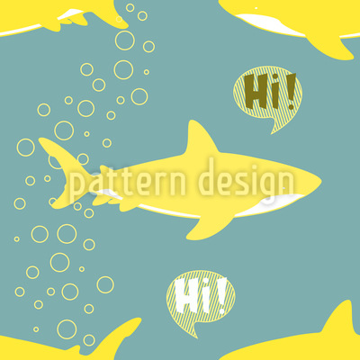 Great White Shark Says Hi Seamless Vector Pattern
