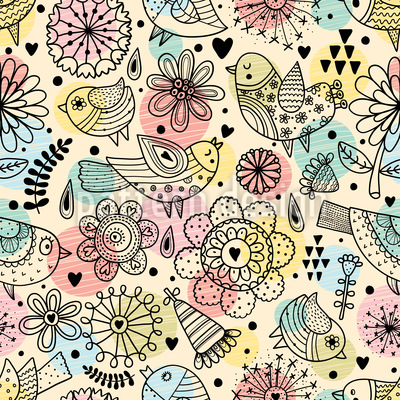 Birds Flowers and Polka Dot Vector Ornament