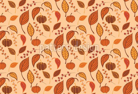 Blätter und Kürbisse Nahtloses Vektormuster