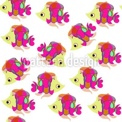 Neugierige Fische Nahtloses Vektor Muster