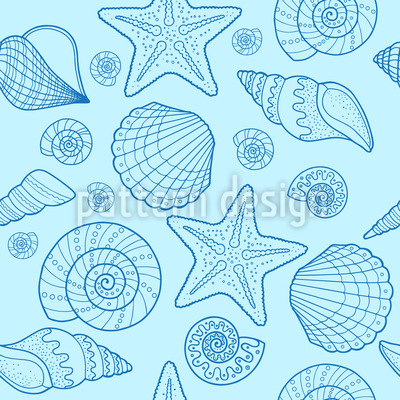 Sea Shell And Starfish Repeat Pattern