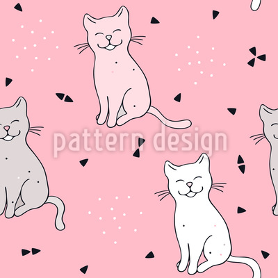 Smiling Cat Repeating Pattern
