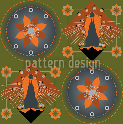 Peacock and Blossoms Green Pattern Design