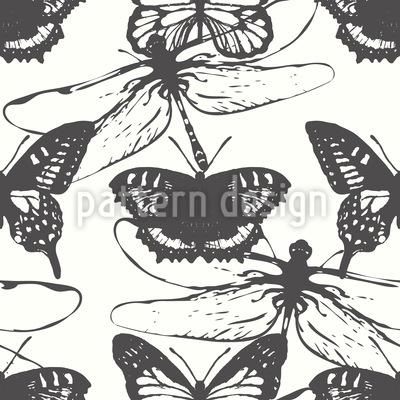 Schmetterlinge und Libellen Muster Design