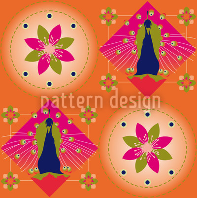 Peacock and Blossoms Orange Pattern Design