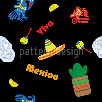 Viva Mexico Seamless Vector Pattern