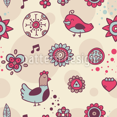 Doves And Songbirds Vector Pattern
