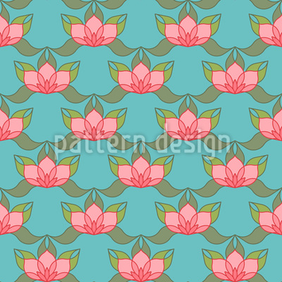 Lotus Pond Seamless Vector Pattern Design