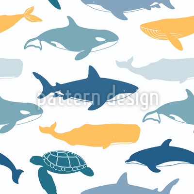Sea Animals Seamless Vector Pattern Design