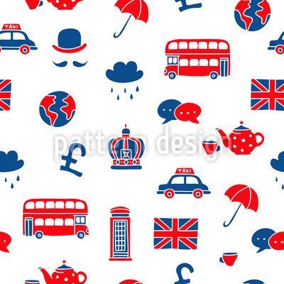Visit To Britain Seamless Vector Pattern Design
