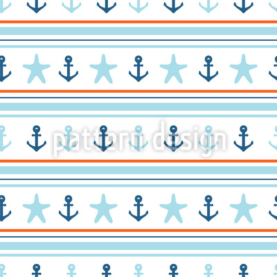 Anker und Seesterne Muster Design