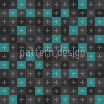 Modern checkerboard with Crosses Repeat