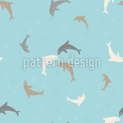 Playing Dolphins Seamless Vector Pattern Design