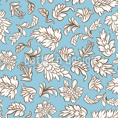 Leafage Light Blue Seamless Vector Pattern