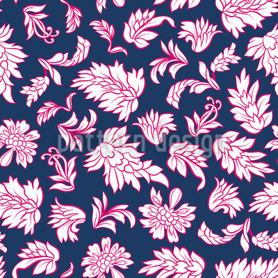 Leafage Dark Blue Vector Pattern