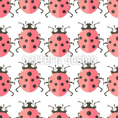 Cute Ladybugs Seamless Vector Pattern Design
