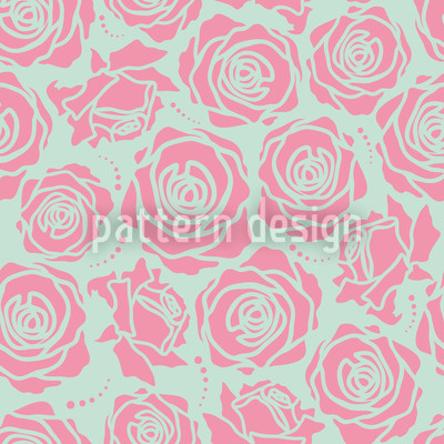 Rose Blossoms Stylized Repeat Pattern