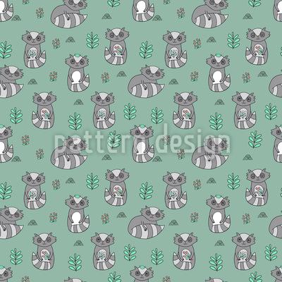 Niedliche Waschbären Muster Design