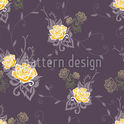 Honey and Cream Roses Seamless Vector Pattern
