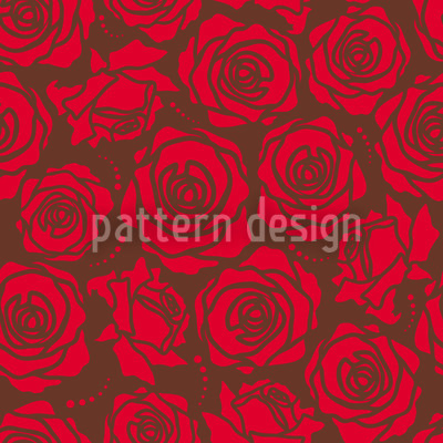 Rose Blossoms Red Seamless Vector Pattern Design