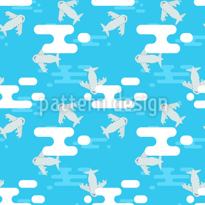 Flying With Airplanes Seamless Vector Pattern