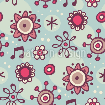 Musical Flowers Repeating Pattern
