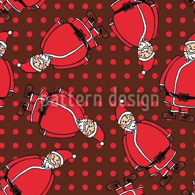 Dotty Santa Castanho Design de padrão vetorial sem costura