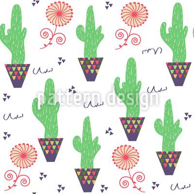 Kaktus Topf Nahtloses Vektormuster