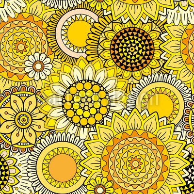 Sunny Fantasyflowers Repeat Pattern