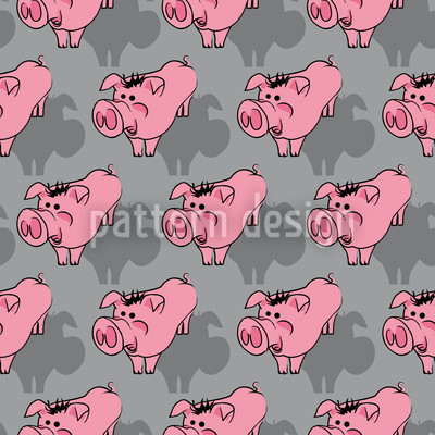 Piggies Grey Vector Pattern
