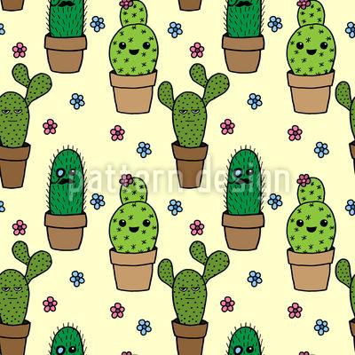 Kaktus Köpfe Nahtloses Vektormuster