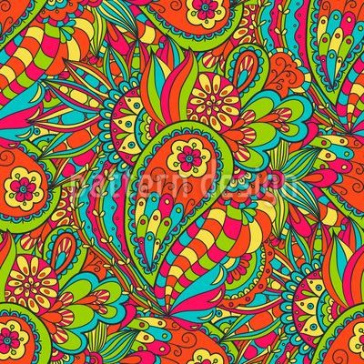 Florales Paisley Doodle Nahtloses Vektor Muster