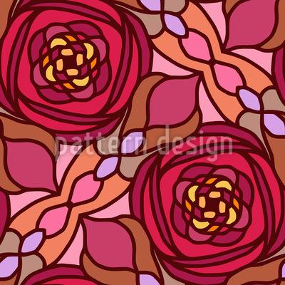 Glasmalerei Rosen Nahtloses Vektormuster