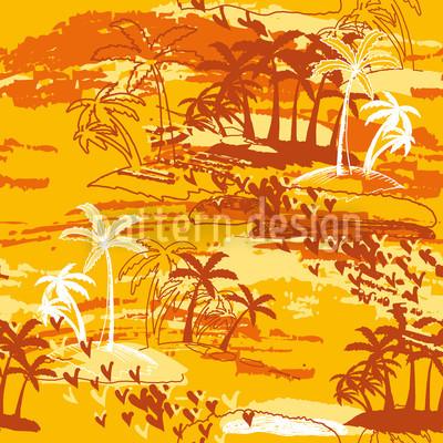 Inselparadies Gelb Rapportiertes Design