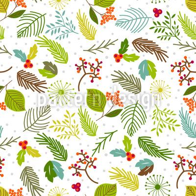 Blätter und Beerenzweige Musterdesign
