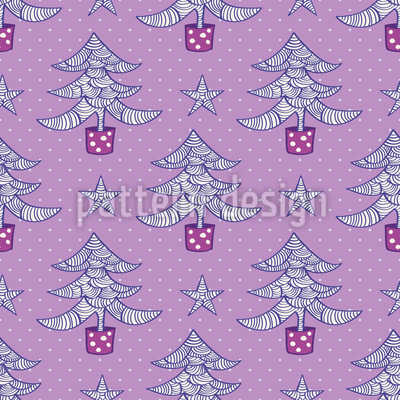 Wavy Christmas Trees and Stars Design Pattern