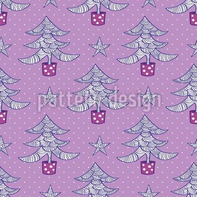 Árvores de Natal onduladas e estrelas Design de padrão vetorial sem costura