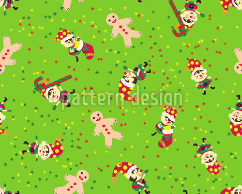 Christmas Elf Seamless Vector Pattern Design