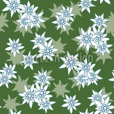 Edelweiss Grün Nahtloses Vektormuster