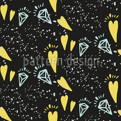 Modern Diamonds and Hearts Vector Pattern