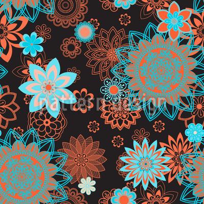Mandala Nacht Blüte Rapportmuster