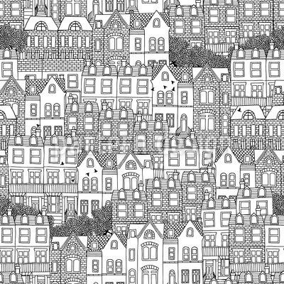 Britische Häuser Nahtloses Vektormuster