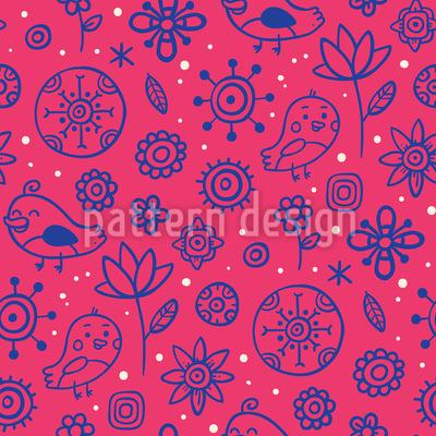 Birds Love Flowers Repeat Pattern