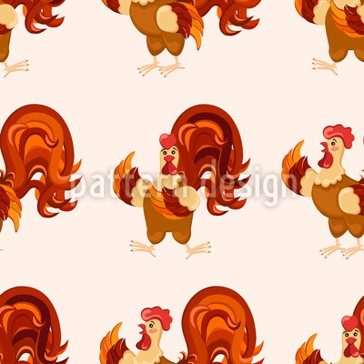 Rooster Groove Seamless Vector Pattern