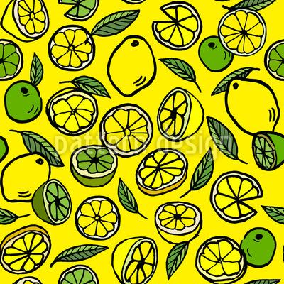 Zitrone und Limette Nahtloses Vektormuster