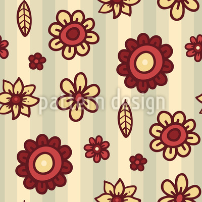 Stripe And Flower Vector Pattern