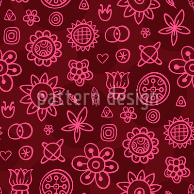 Cute Fantasy Flowers Vector Ornament