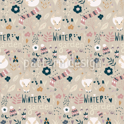 Winter Fox Seamless Pattern